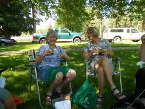 Knittin' sisters.