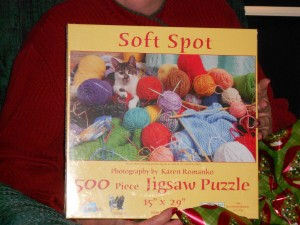 I think she got to keep this knitting themed jigsaw puzzle.