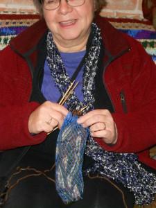Her yarn is encased in a 'yarn bra'.